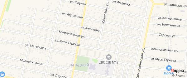 Коммунальная улица на карте села Верхнеяркеево с номерами домов