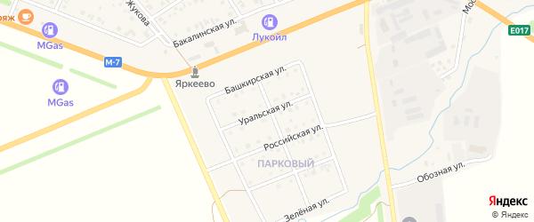 Уральская улица на карте села Верхнеяркеево с номерами домов