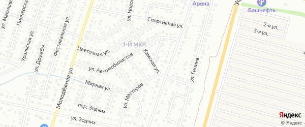 Камская улица на карте Нефтекамска с номерами домов