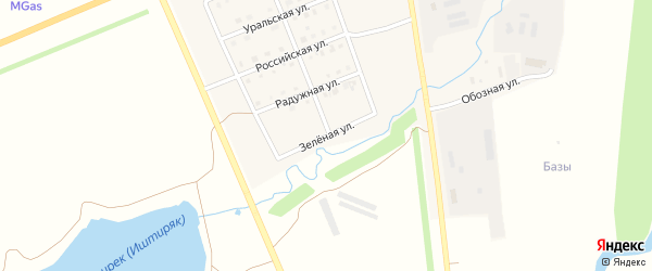 Зеленая улица на карте села Верхнеяркеево с номерами домов