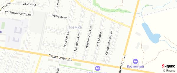 Февральская улица на карте Нефтекамска с номерами домов