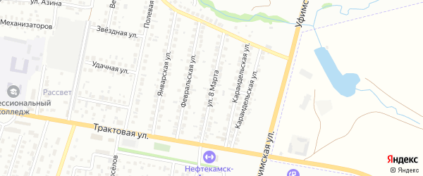Улица 8 Марта на карте Нефтекамска с номерами домов