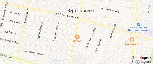 Комсомольская улица на карте села Верхнеяркеево с номерами домов