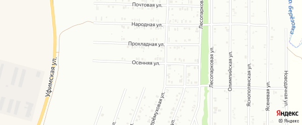 Осенняя улица на карте Нефтекамска с номерами домов