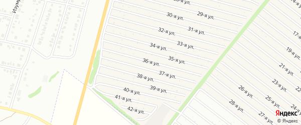 36-я улица на карте СНТ Радуга-1 с номерами домов