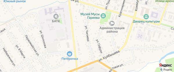 Улица Чапаева на карте села Верхнеяркеево с номерами домов