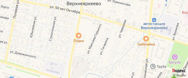 Улица М.Горького на карте села Верхнеяркеево с номерами домов