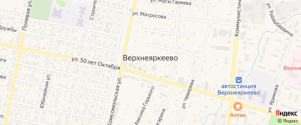 Рощинская улица на карте села Верхнеяркеево с номерами домов