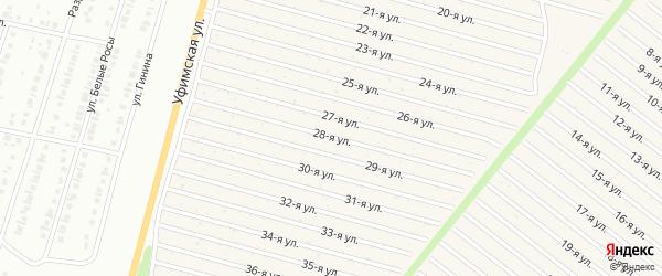 28-я улица на карте СНТ Радуга-1 с номерами домов