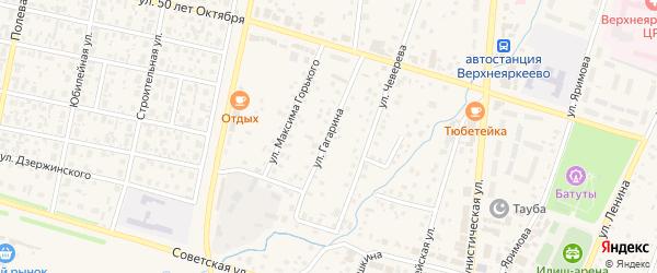Улица Гагарина на карте села Верхнеяркеево с номерами домов