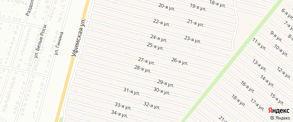 27-я улица на карте СНТ Радуга-1 с номерами домов