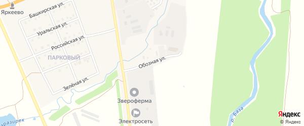 Обозная улица на карте села Верхнеяркеево с номерами домов