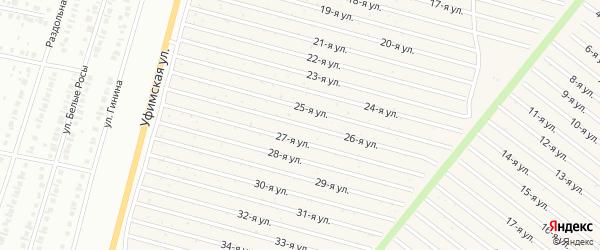 26-я улица на карте СНТ Радуга-1 с номерами домов