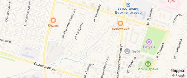 Переулок Чеверева на карте села Верхнеяркеево с номерами домов