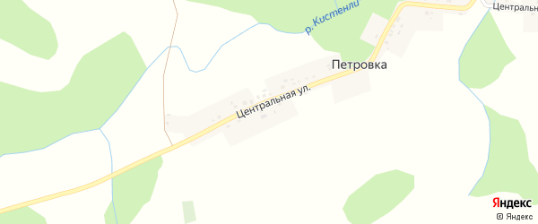 Центральная улица на карте деревни Петровки с номерами домов