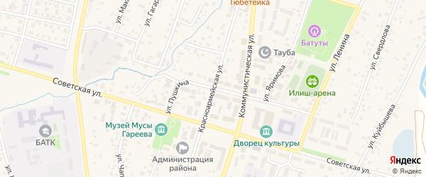 Красноармейская улица на карте села Верхнеяркеево с номерами домов