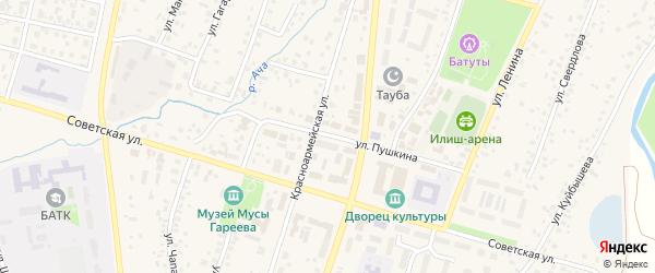 Улица Пушкина на карте села Верхнеяркеево с номерами домов
