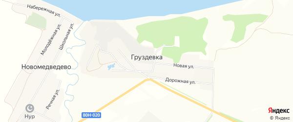 Карта деревни Груздевки в Башкортостане с улицами и номерами домов