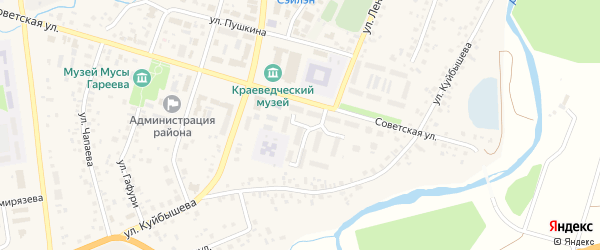Библиотечный переулок на карте села Верхнеяркеево с номерами домов