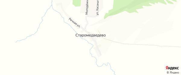 Карта деревни Старомедведево в Башкортостане с улицами и номерами домов