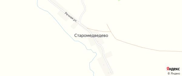 Речная улица на карте деревни Старомедведево с номерами домов