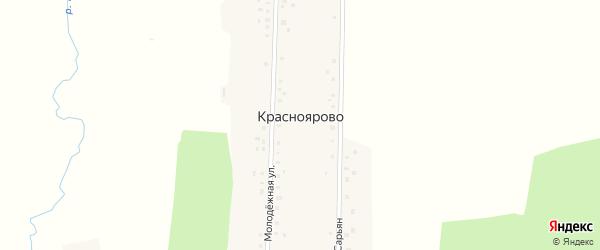 Молодежная улица на карте деревни Красноярово с номерами домов
