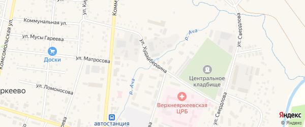 Улица Худайбердина на карте села Верхнеяркеево с номерами домов