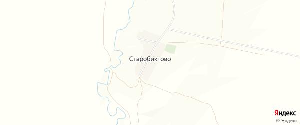 Карта деревни Старобиктово в Башкортостане с улицами и номерами домов