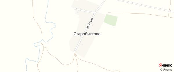 Улица Мира на карте деревни Старобиктово с номерами домов