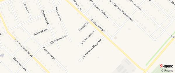 Улица Аксакова на карте села Нижнеяркеево с номерами домов