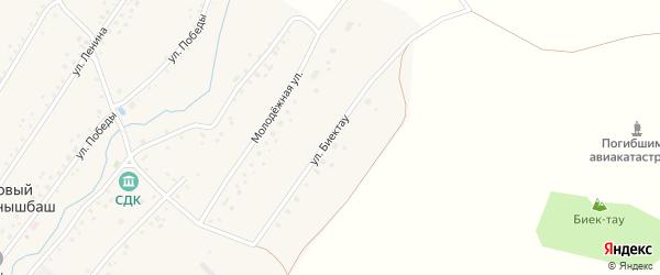 Улица Биектау на карте села Нового Актанышбаша с номерами домов