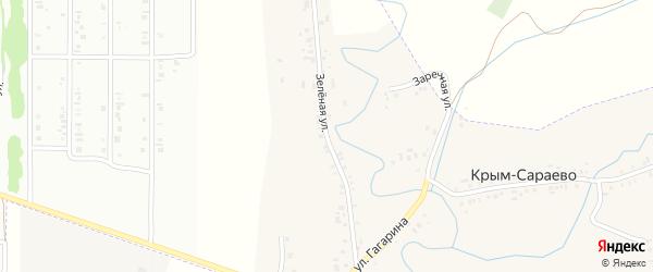 Зеленая улица на карте деревни Крым-Сараево с номерами домов