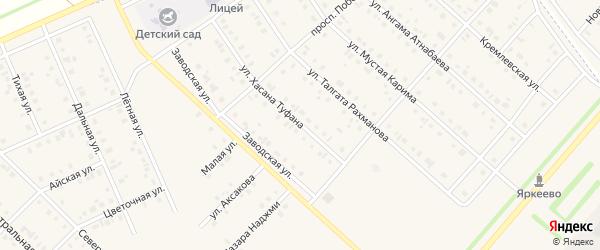 Улица Х.Туфана на карте села Нижнеяркеево с номерами домов