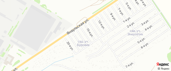 16-я улица на карте СНТ Буровика с номерами домов