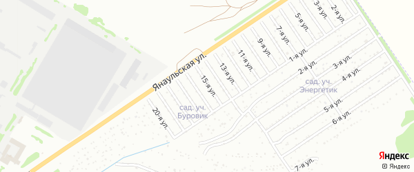 Пятнадцатая улица на карте СНТ Буровика с номерами домов