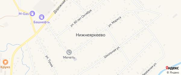 Улица Т.Рахманова на карте села Нижнеяркеево с номерами домов