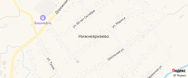Улица Надежды на карте села Нижнеяркеево с номерами домов