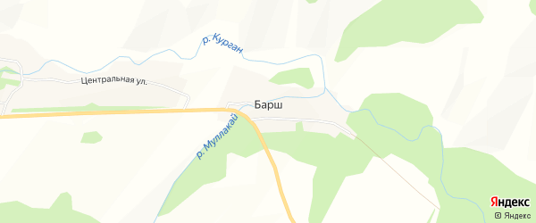 Карта деревни Барша в Башкортостане с улицами и номерами домов