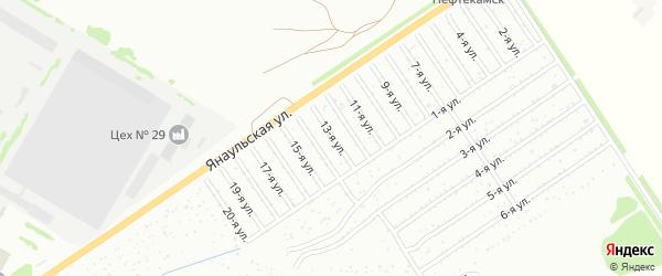 13-я улица на карте СНТ Буровика с номерами домов