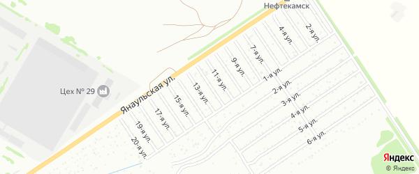 12-я улица на карте СНТ Буровика с номерами домов