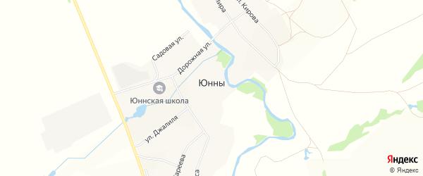 Карта села Юнны в Башкортостане с улицами и номерами домов