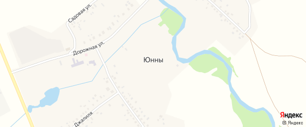 Дорожная улица на карте села Юнны с номерами домов