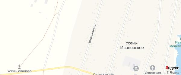 Школьная улица на карте Усени-Ивановского села с номерами домов
