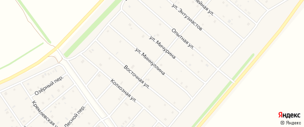 Улица Миннуллина на карте деревни Верхнечерекулево с номерами домов