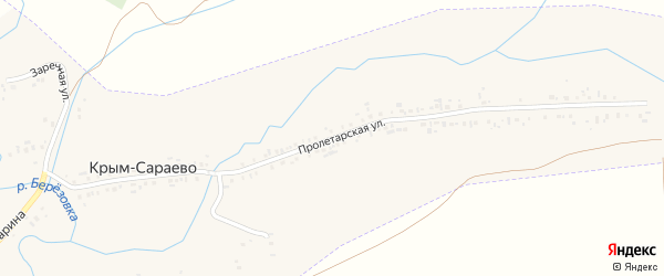 Пролетарская улица на карте деревни Крым-Сараево с номерами домов