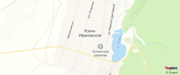 Карта Усени-Ивановского села в Башкортостане с улицами и номерами домов