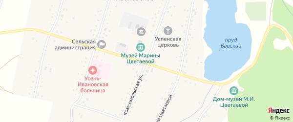 Комсомольская улица на карте Усени-Ивановского села с номерами домов