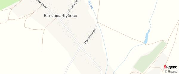Мостовая улица на карте села Батырша-Кубово с номерами домов