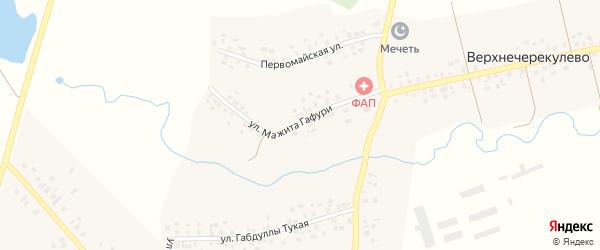 Улица М.Гафури на карте деревни Верхнечерекулево с номерами домов