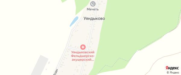 Лесная улица на карте деревни Уяндыково с номерами домов
